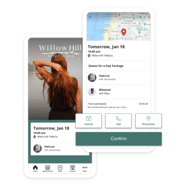 Mobile devices with branded app salon appointment scheduling screens
