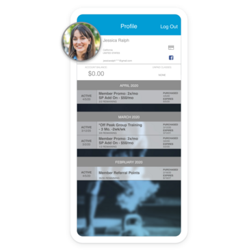 Mobile device with branded app client profile displaying payment information and history