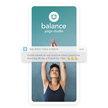 Mobile device with yoga branded app home screen and a push notification for a special offer
