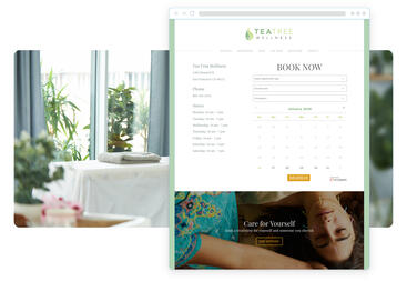 Branded web schedule with greens that match the floral imagery on the site