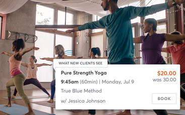 Yoga class with a dynamic pricing listing in the MINDBODY app