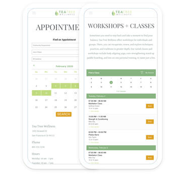 A mobile device with a wellness appointment schedule and another device with a workshops and classes schedule