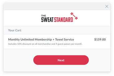 Branded fitness business website cart with added monthly membership plan