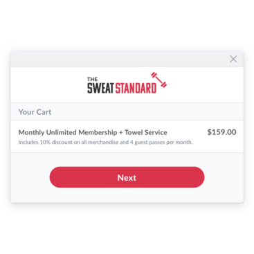 Branded fitness web cart with reoccurring membership added