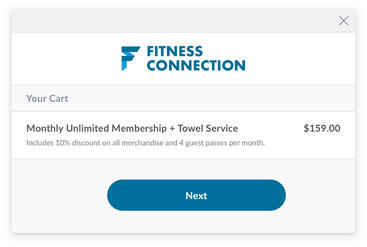Branded online fitness business cart with added membership payment