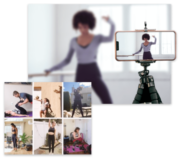 Woman teaching online virtual barre class
