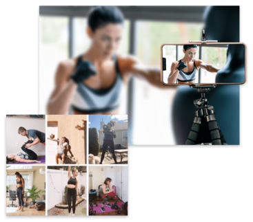Woman leading online virtual martial arts class