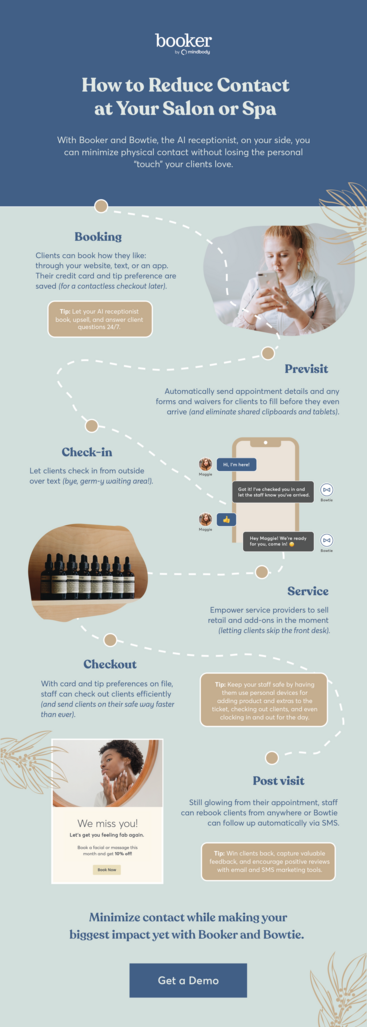 How to reduce contact at your salon or spa infographic