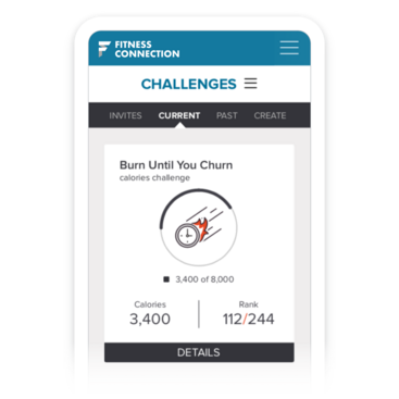 Mobile device with FitMetrix out-of-class challenge stats