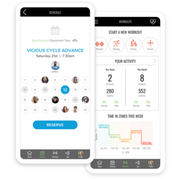 Phones with Fitmetrix branded app scheduling and workout results screens