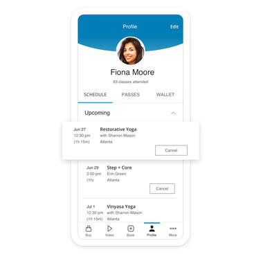 App displaying client profile with class enrollment information