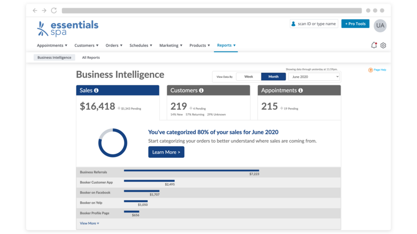 Product screen of the spa business intelligence dashboard