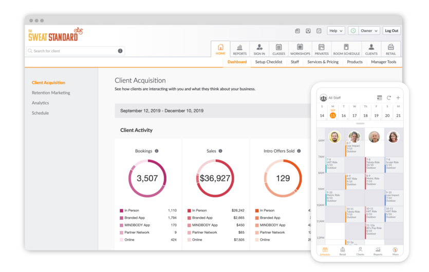 Business software dashboard on web browser and mobile